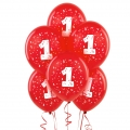 Red No. 1  Latex Balloons 6 Pack